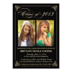 Classy Elegant Black 2013 Graduation Photo Invitation Card