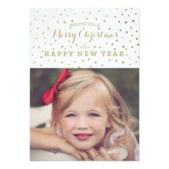 Classy Gold Dots Merry Christmas Photo Card Invitation Card