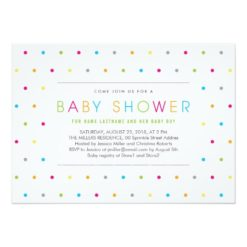 Color Dots Modern Clean Neutral Baby Shower Invitation Card
