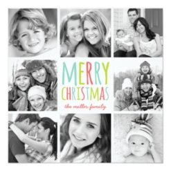 Colorful Christmas Modern Photo Collage Card Square Invitation Card
