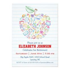 Colorful Teachers Apple Retirement Party Invitation Card