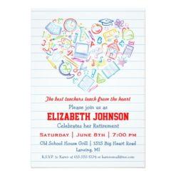 Colorful Teachers Heart Retirement Party Invitation Card