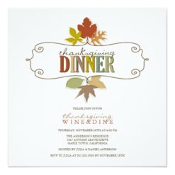 Colorful Thanksgiving Leaves Holiday Party Invite Square Invitation Card