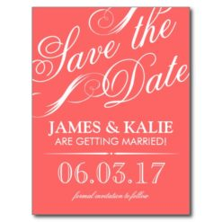Coral And Gray Vintage Script Save The Date Postcard