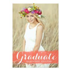 Coral Watercolor Splash | Graduation Invitation Card