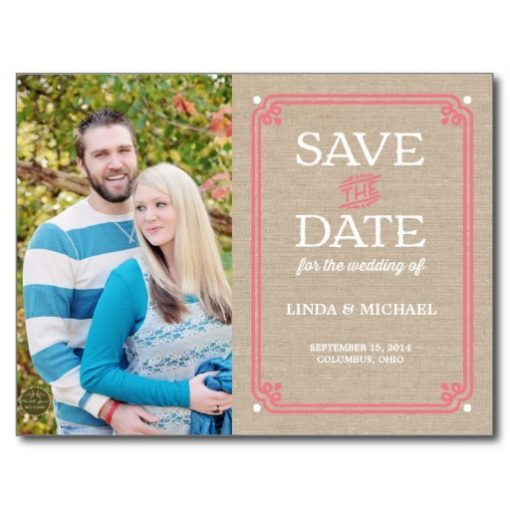 Coral & White Burlap Photo Save The Date Postcard
