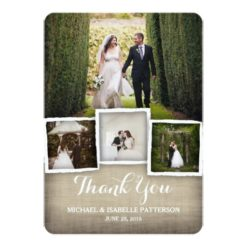 Country Burlap Wedding Photo Thank You Card Invitation Card