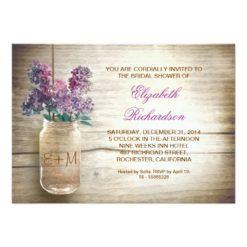 Country Rustic Mason Jar Bridal Shower Invitation Card