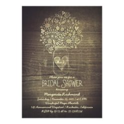 Country Rustic Mason Jar Floral Bridal Shower Invitation Card