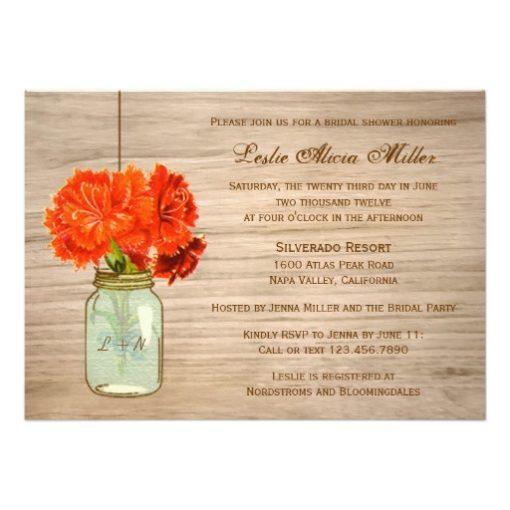 Country Rustic Mason Jar Flowers Bridal Shower Invitation Card