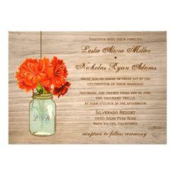 Country Rustic Mason Jar Flowers Wedding Invitation Card