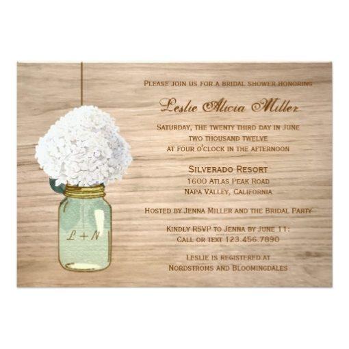 Country Rustic Mason Jar Hydrangea Bridal Shower Invitation Card
