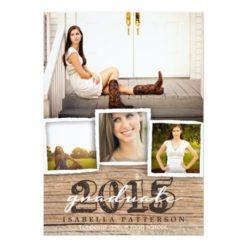 Country Rustic Wood Graduation 2015 Invitation Card