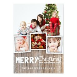 Country Rustic Wood Merry Christmas Photo Card Invitation Card