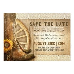 Country Style Sunflower Lace Save The Date Invitation Card