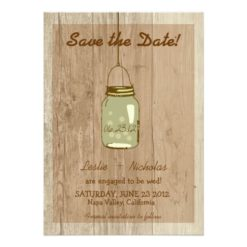 Country Wooden Rustic Mason Jar Save The Date Invitation Card