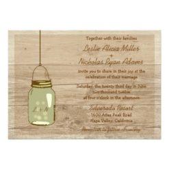 Country Wooden Rustic Mason Jar Wedding Invitation Card