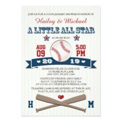 Couples All Star Baseball Baby Shower Invitation Card
