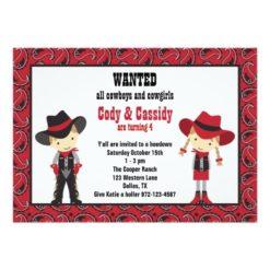 Cowboy And Cowgirl Birthday Invitation Card