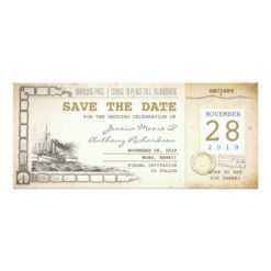 Cruise Boarding Pass Tickets For Save The Date Invitation Card