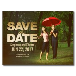Custom Faux Gold Save The Date Photo Postcard