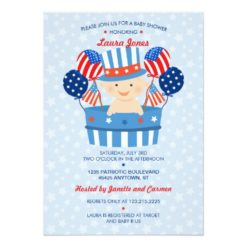 Cute 4Th Of July Patriotic Baby Boy Baby Shower Invitation Card