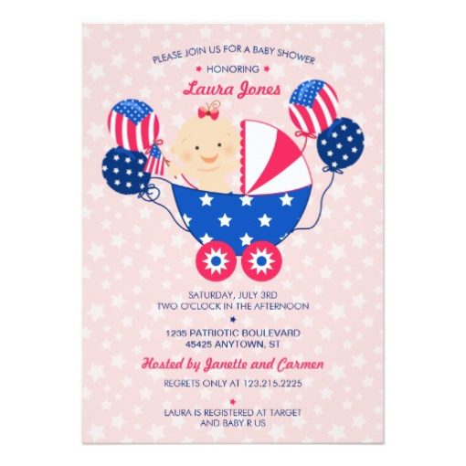 Cute 4Th Of July Patriotic Baby Girl Baby Shower Invitation Card