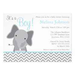 Cute Elephant Chevron Light Blue Baby Shower Invitation Card