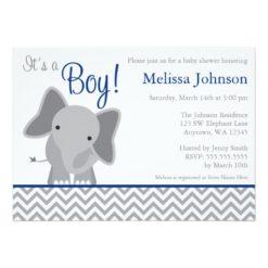Cute Elephant Chevron Navy Blue Baby Shower Invitation Card