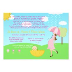 Cute Modern Mom And Baby Boy Baby Sprinkle Invitation Card