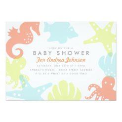 Cute Ocean Critters Baby Shower Invitation Card