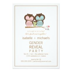 Cute Owl Couple Gender Reveal Party Invitation Card