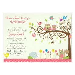Cute Pink Owl Girl Baby Shower Invitation Card