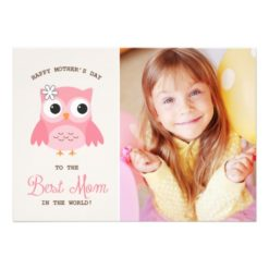 Cute Pink Owl | Happy Mother'S Day Card Invitation Card