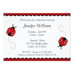 Cute Red And Black Ladybugs Baby Shower Invitation Card