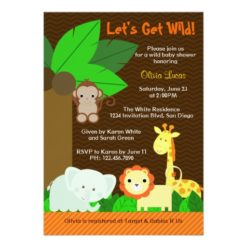 Cute Sweet Jungle Animals Baby Boy Baby Shower Invitation Card