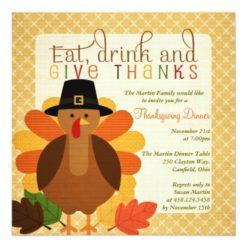 Cute Turkey Thanksgiving Dinner Square Paper Invitation Card