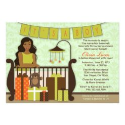 Cute Young Mom In Nursery Baby Shower Invitation Card