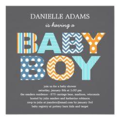 Cutout Letters Baby Shower Invitation - Boy Square Invitation Card