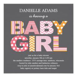 Cutout Letters Baby Shower Invitation - Girl Square Invitation Card