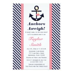 Pink Navy Anchor Nautical Baby Shower Invitation Card