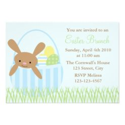 Easter Bunny In A Basket Invitation Card