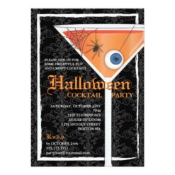 Elegant Black Lace Halloween Cocktail Party Invitation Card