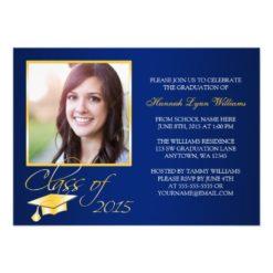 Elegant Blue Gold Photo Graduation Announcement Invitation Card