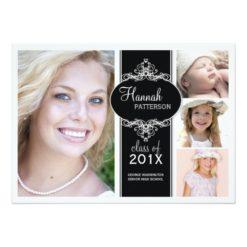 Elegant Girl 4 Photo Black & White Graduation Invitation Card