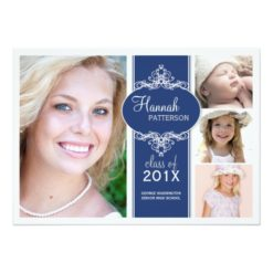 Elegant Girl 4 Photo Blue & White Graduation Invitation Card