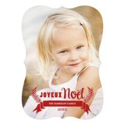 Elegant Joyeux Noel Holiday Photo Card / Red Invitation Card