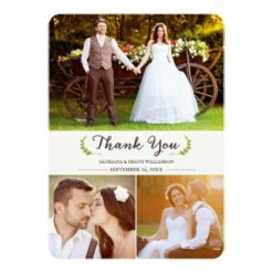 Elegant Laurels Wedding Thank You Photo Flat Card Invitation Card