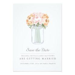 Elegant Mason Jar Save The Date Invitation Card