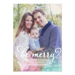 Elegant Modern Be Merry Christmas Photo Card Invitation Card